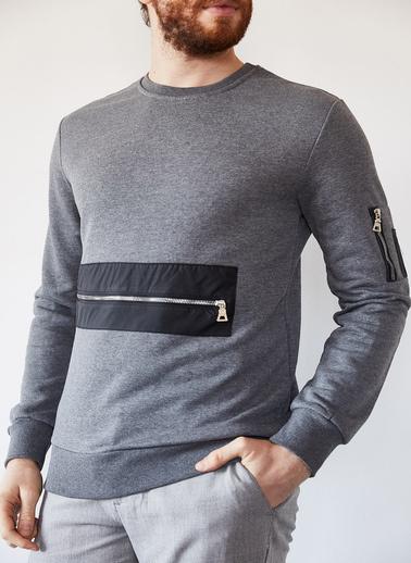 XHAN Haki Fermuarlı Detaylı Garnili Sweatshirt 1Kxe8-44237-09 Gri